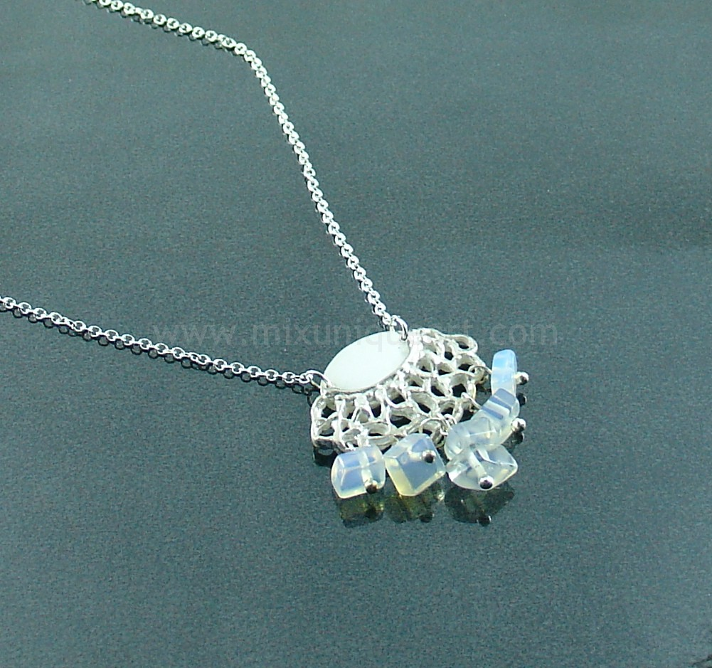 """Crochet"" Silver Charm With Moon Stones"