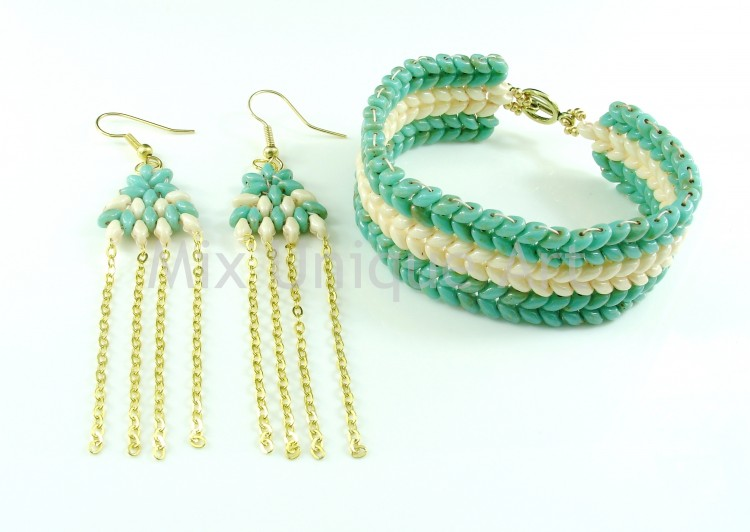 Chevron Bracelet & Matching Earrings