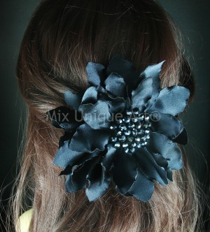 Big Black Flower with Glass Beads