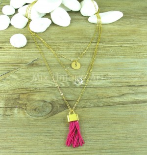 Multi Strand Necklace in Gold with Pink Tassel