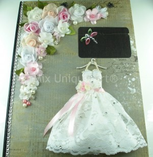Wedding Guest Book with bride dress in white and silk flowers handmade.
