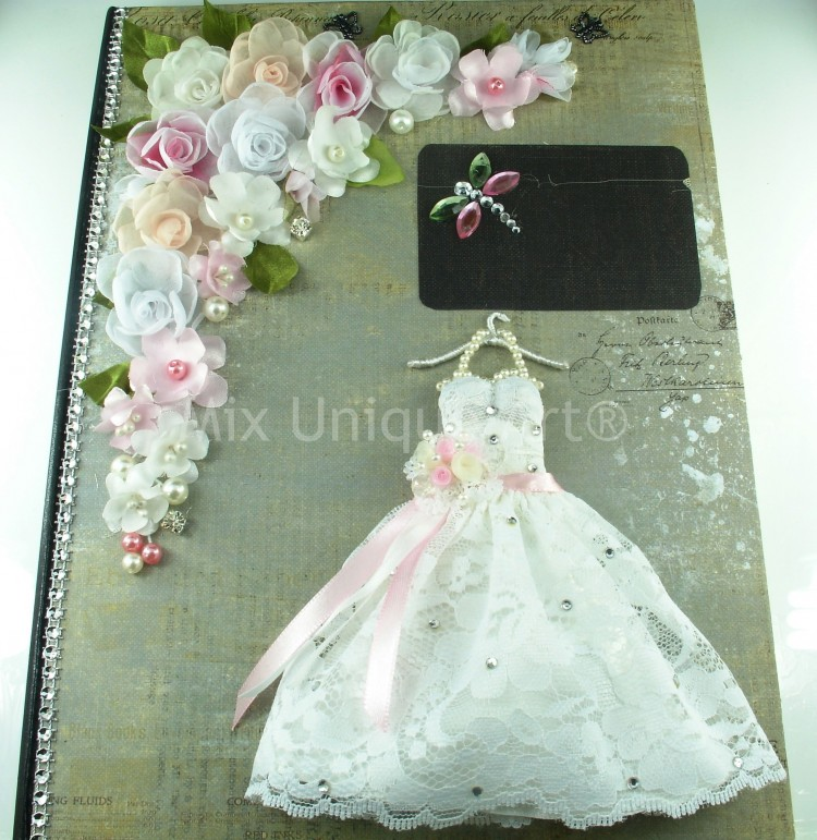 Wedding Guest Book With Bride Dress In White And Silk Flowers Handmade